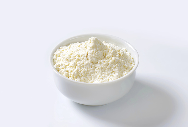 Bowl of finely ground flour suitable for cake recipes