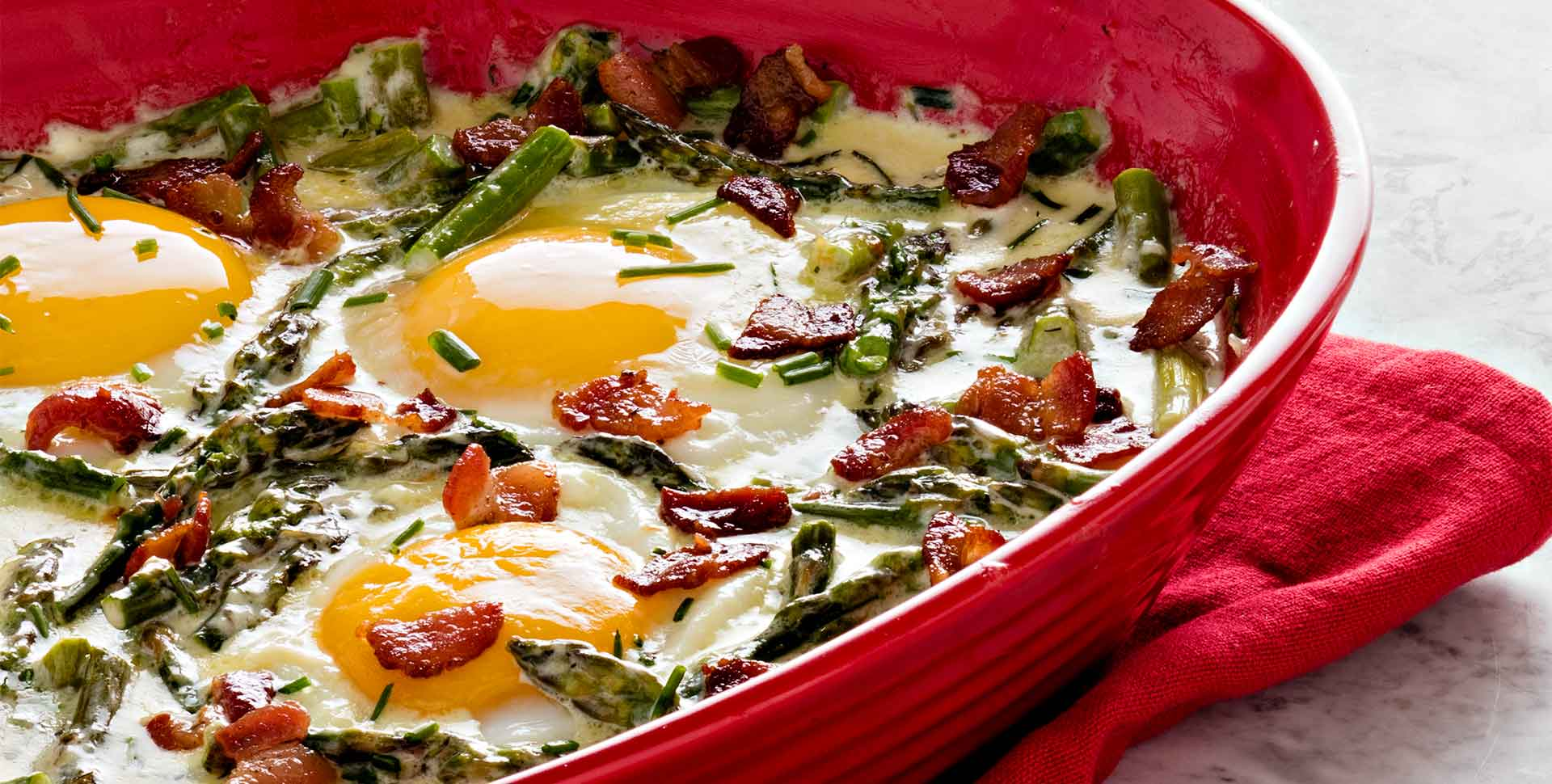 Creamed Asparagus with Baked Eggs