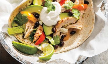 Spice rubbed pulled chicken soft tacos