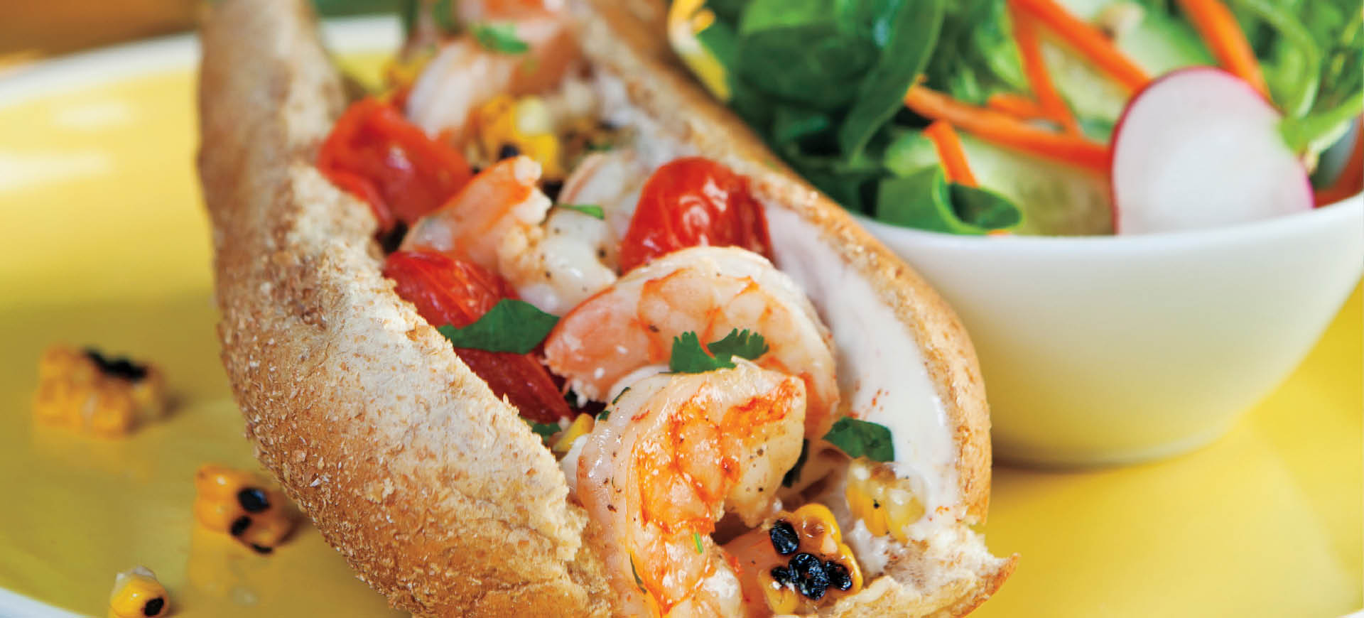 Grilled Shrimp, Corn & Tomato Rolls with Lime Mayo