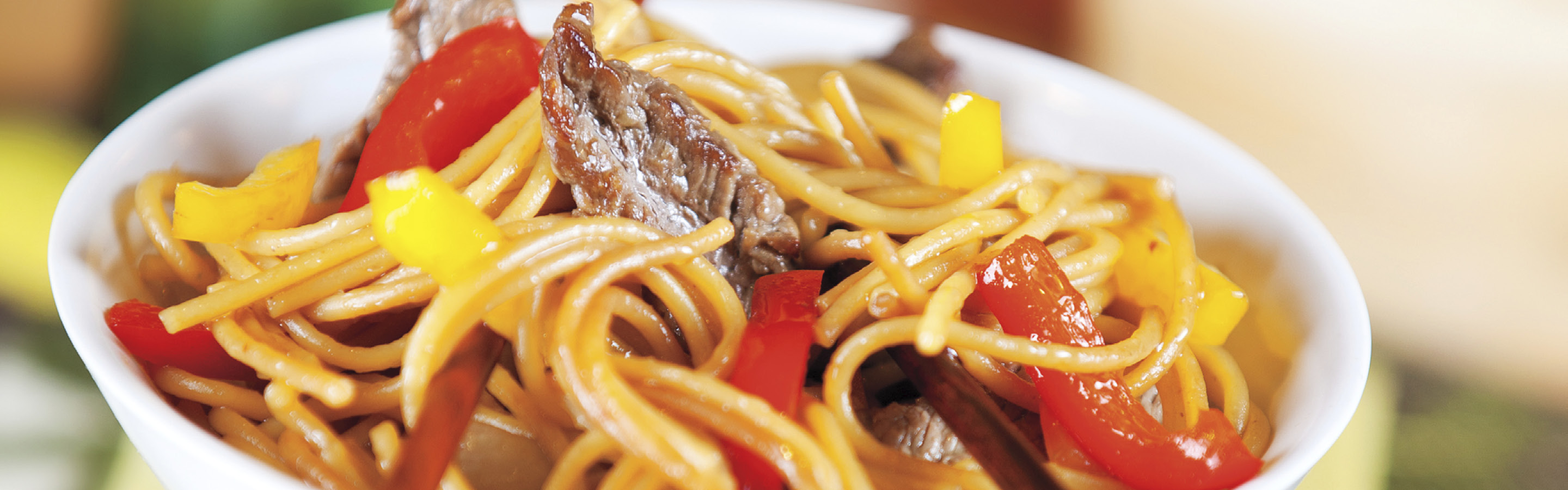 Sesame ginger beef lo mein