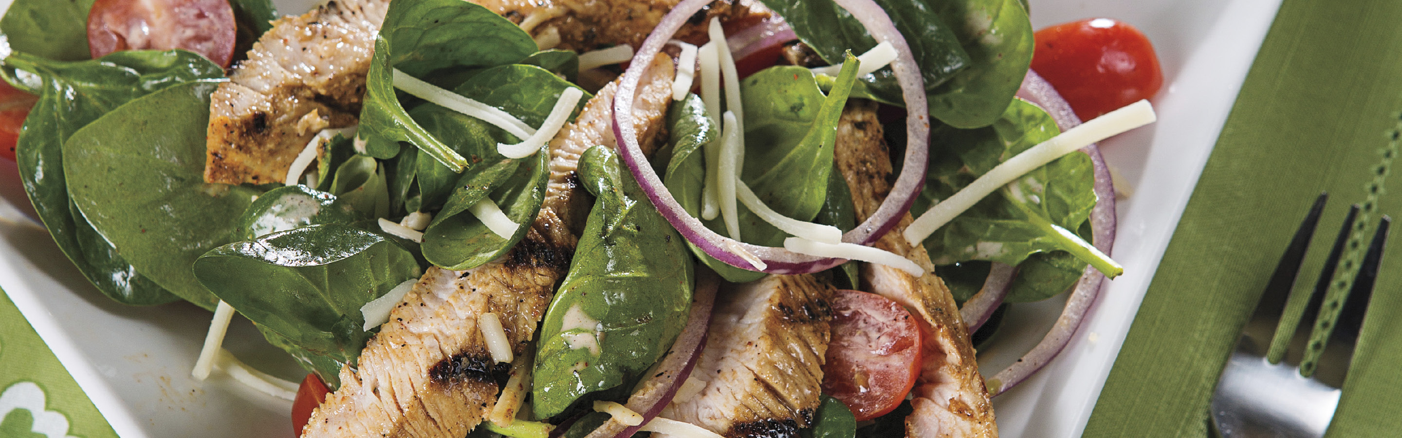 grilled turkey spinach salad
