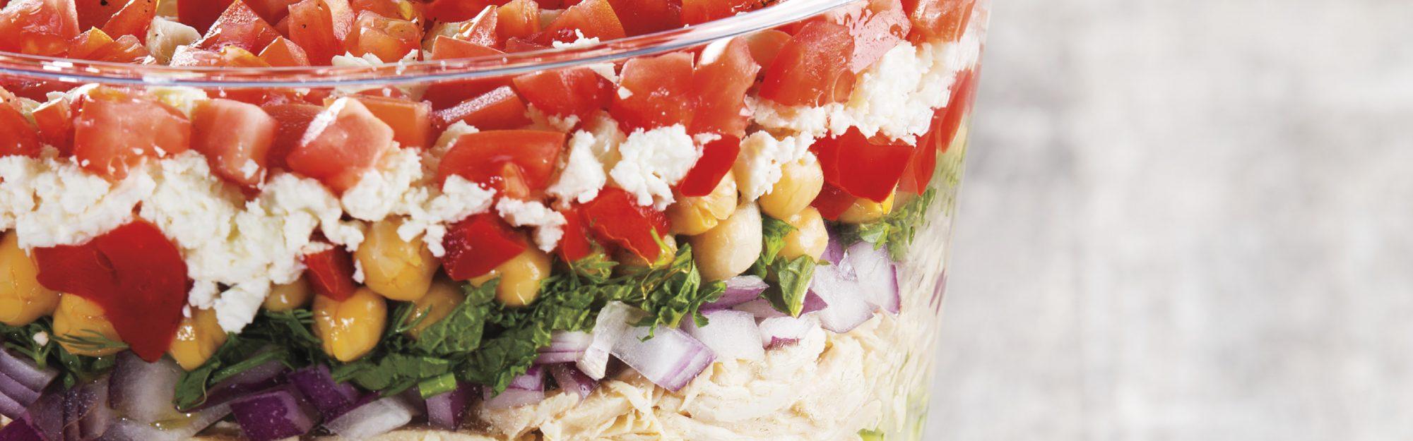 layered mediterranean chicken salad