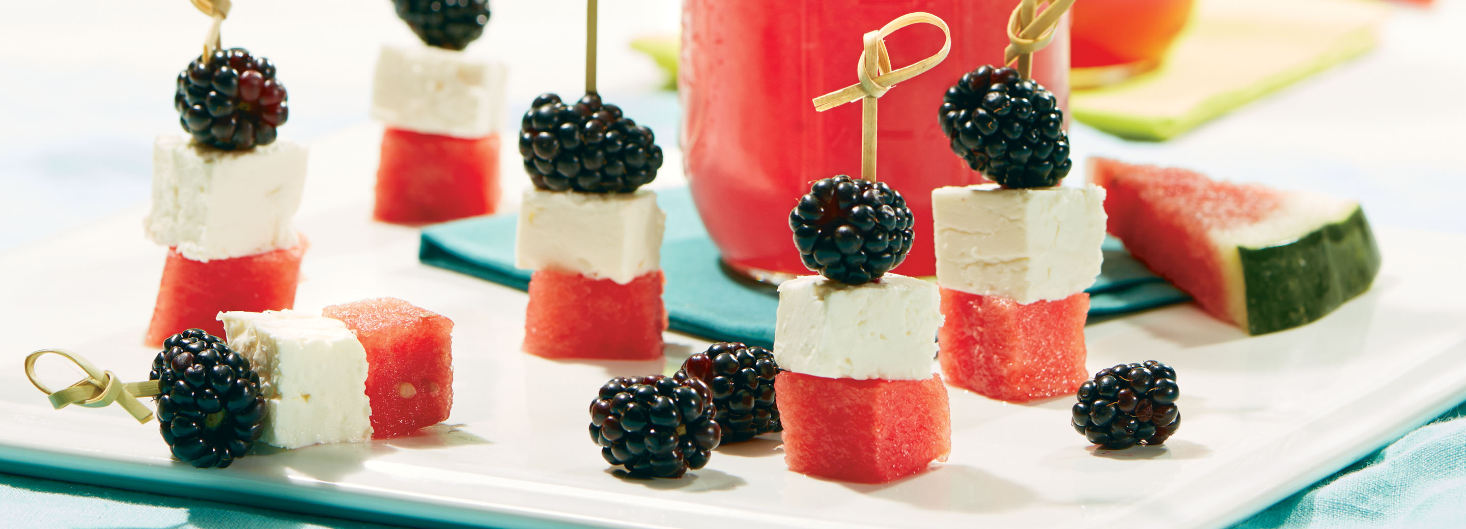 Watermelon, feta and blackberry skewers