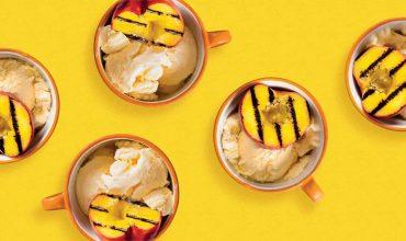 Grilled Peaches and Vanilla Ice Cream