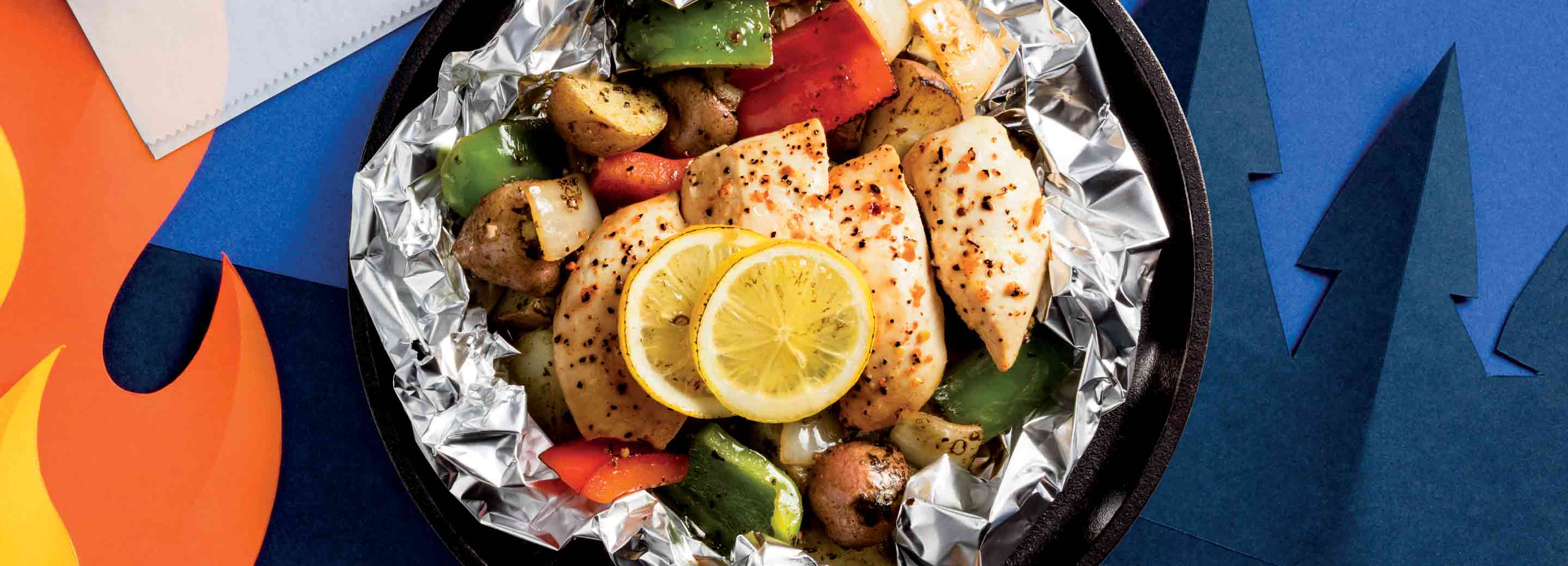 Lemon Chicken Foil Packets with Charred Veggies
