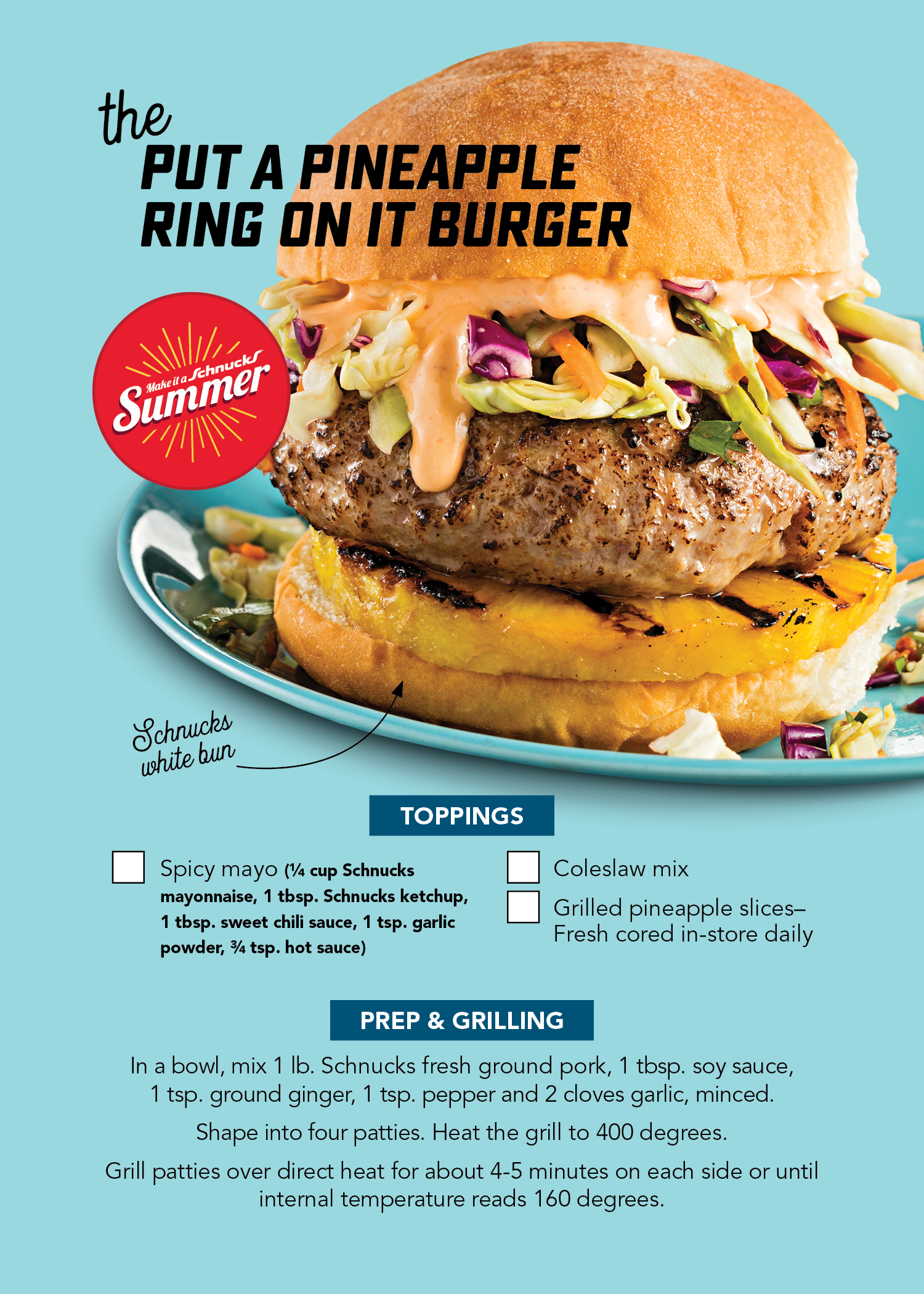 Put a Pineapple Ring On It Burger Recipe Card