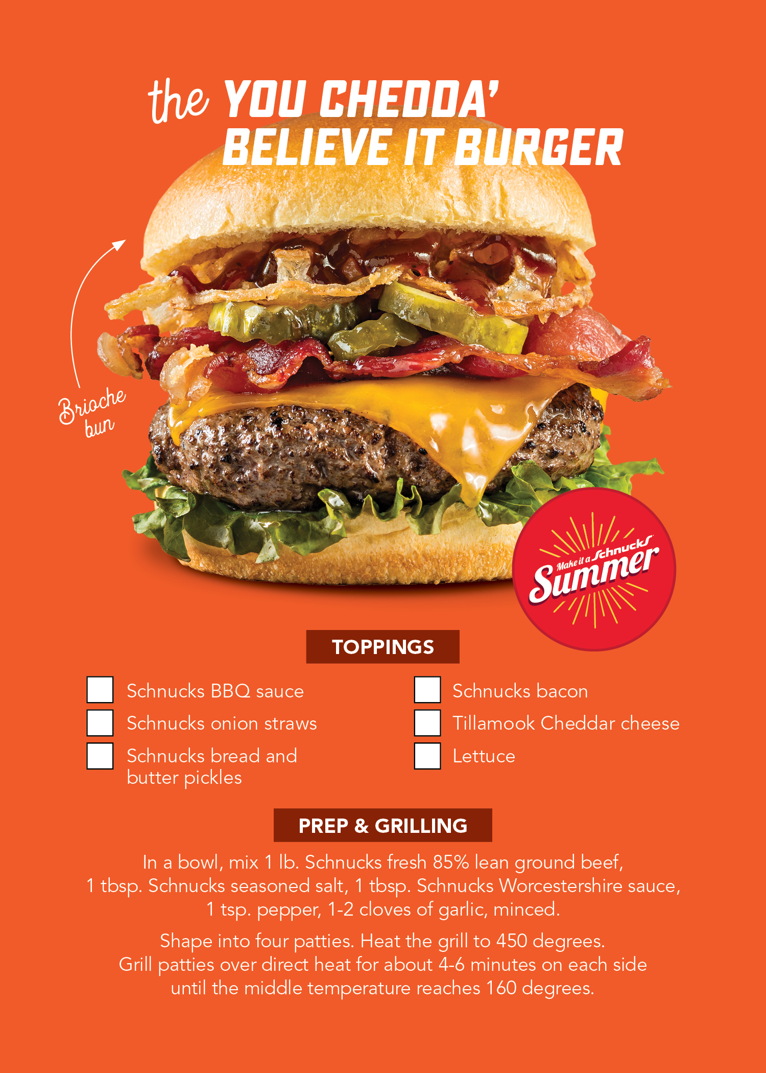 You Chedda Believe It Burger Recipe Card