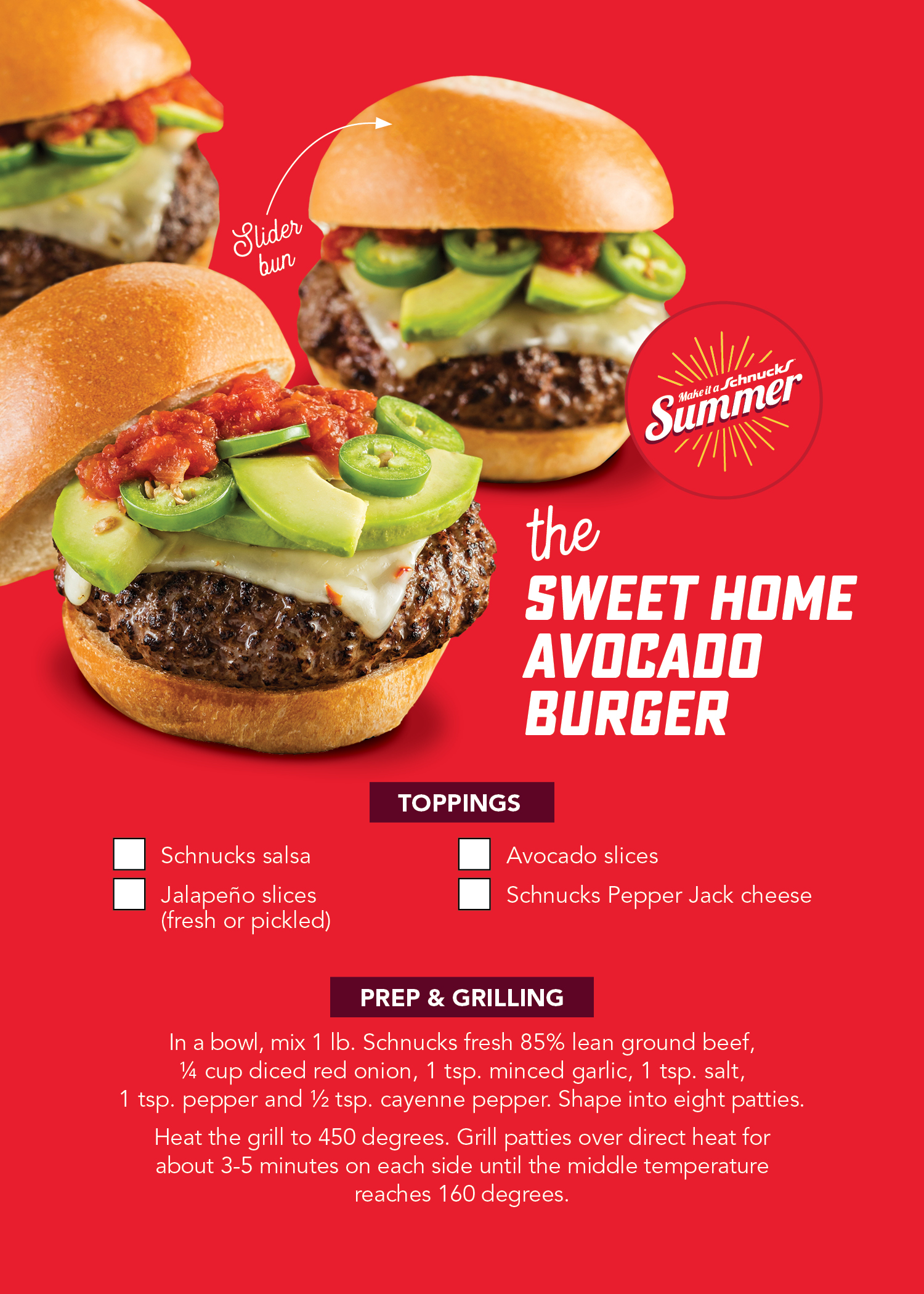 Sweet Home Avocado Burger Recipe Card