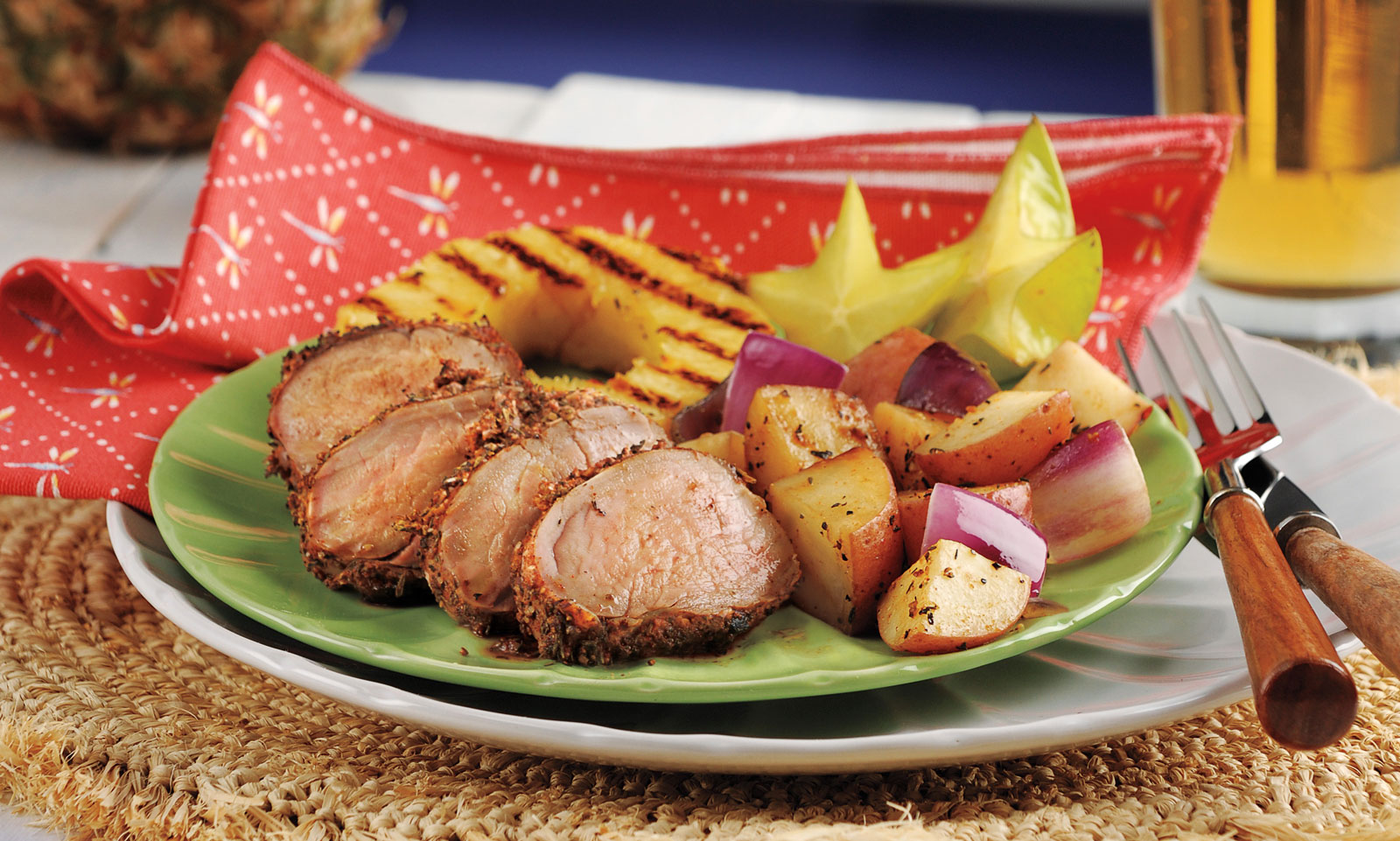 Jerk Pork Tenderloin with Spiced Red Potatoes & Grilled Pineapple