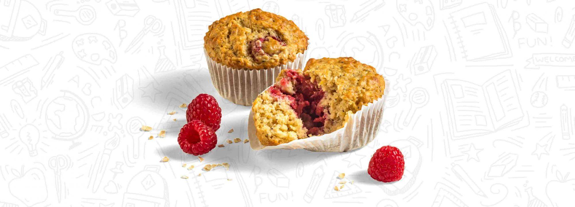 Raspberry Lemon Oatmeal Muffins