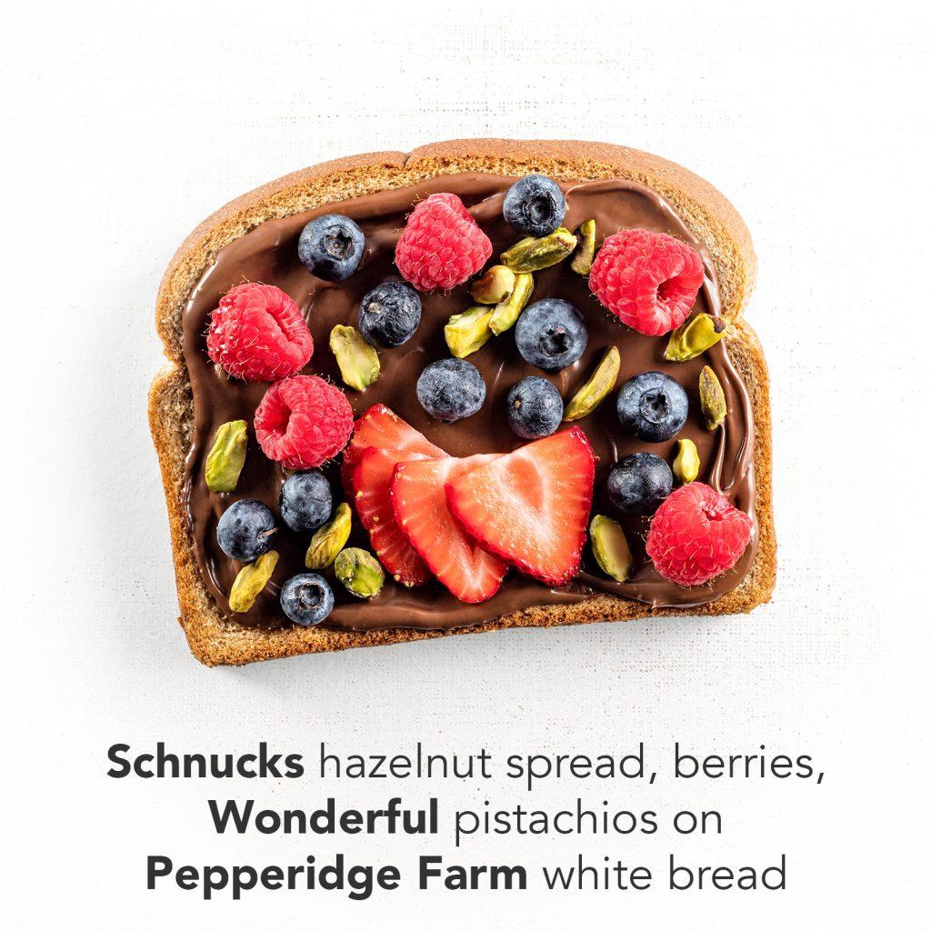 You're A Ten - Schnucks hazelnut spread, berries, Wonderful pistachios on Pepperidge Farm white bread