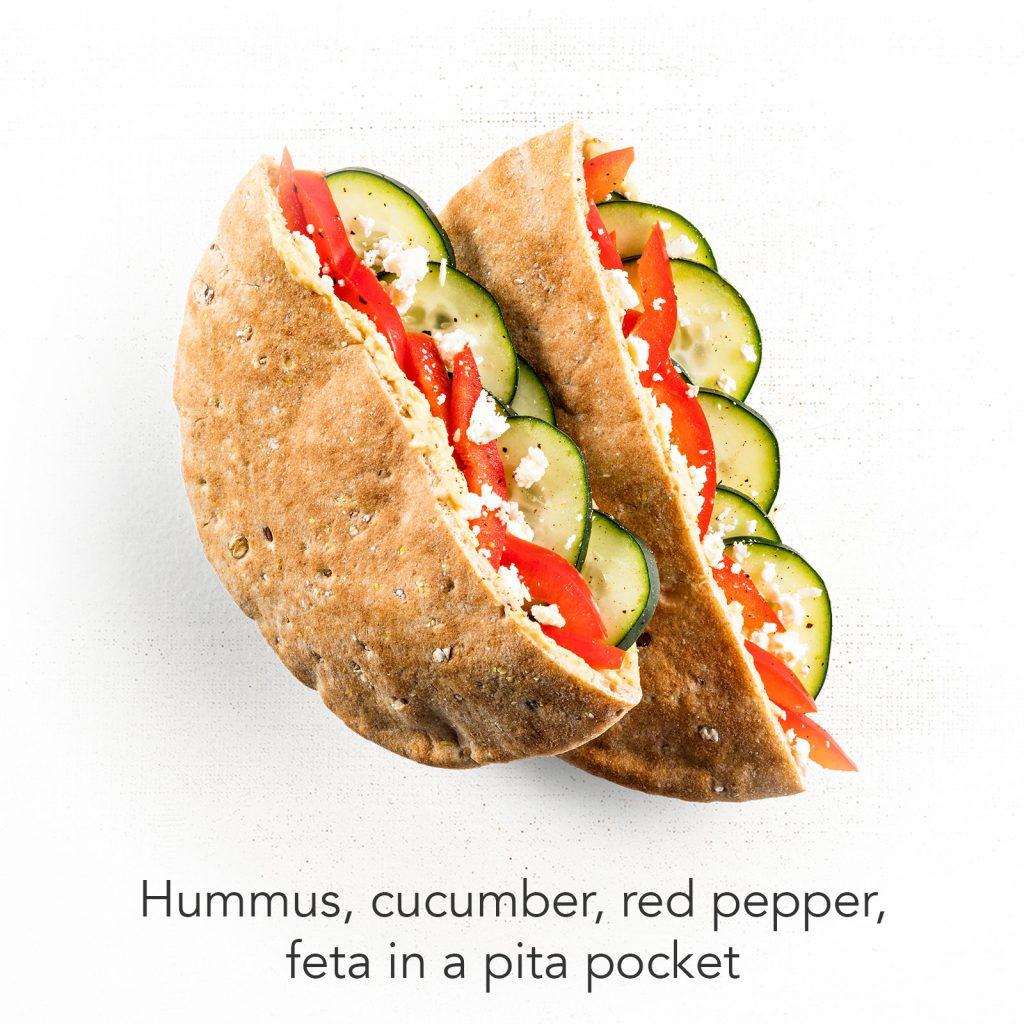 You're A Ten - Hummus, Cucumber, Red Pepper, Feta in a Pita Pocket