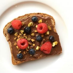 hazelnut spread toast with fruit and nuts
