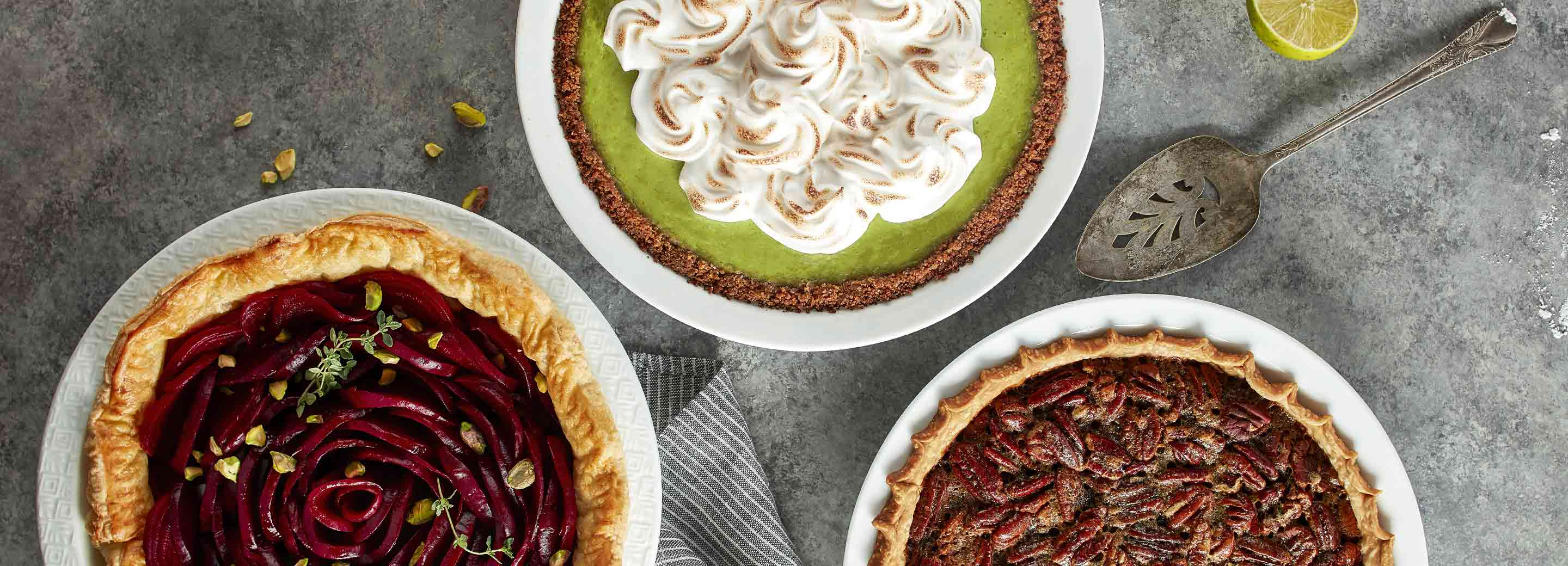 Pecan Pie, Key Lime Pie and Pie with Beets