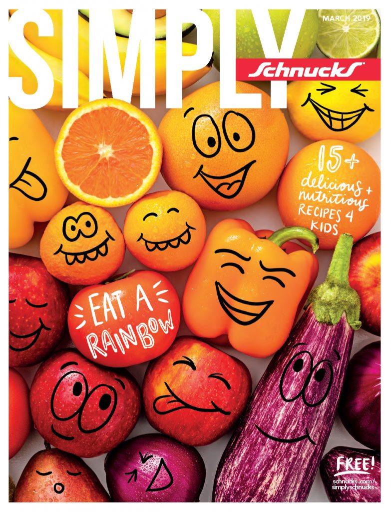 Simply Schnucks March Issue Cover with colorful fruits and vegetables