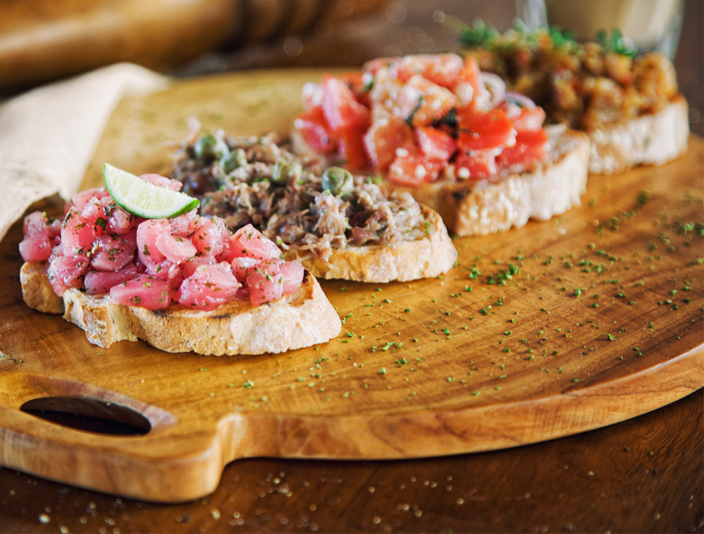 Grilled Tuna, Caper & Red Onion Bruschetta