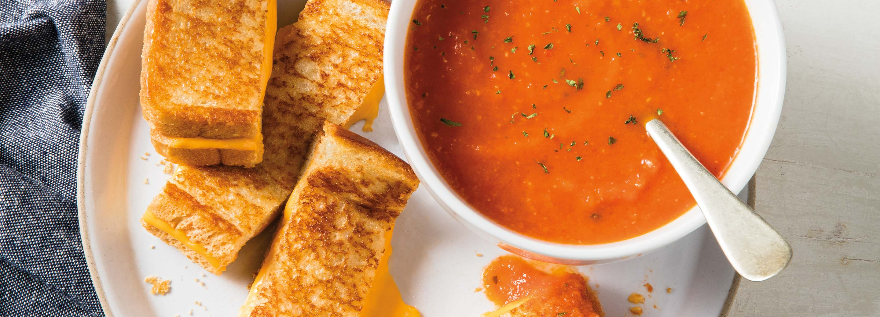 Classic Grilled Cheese & Tomato Basil Soup