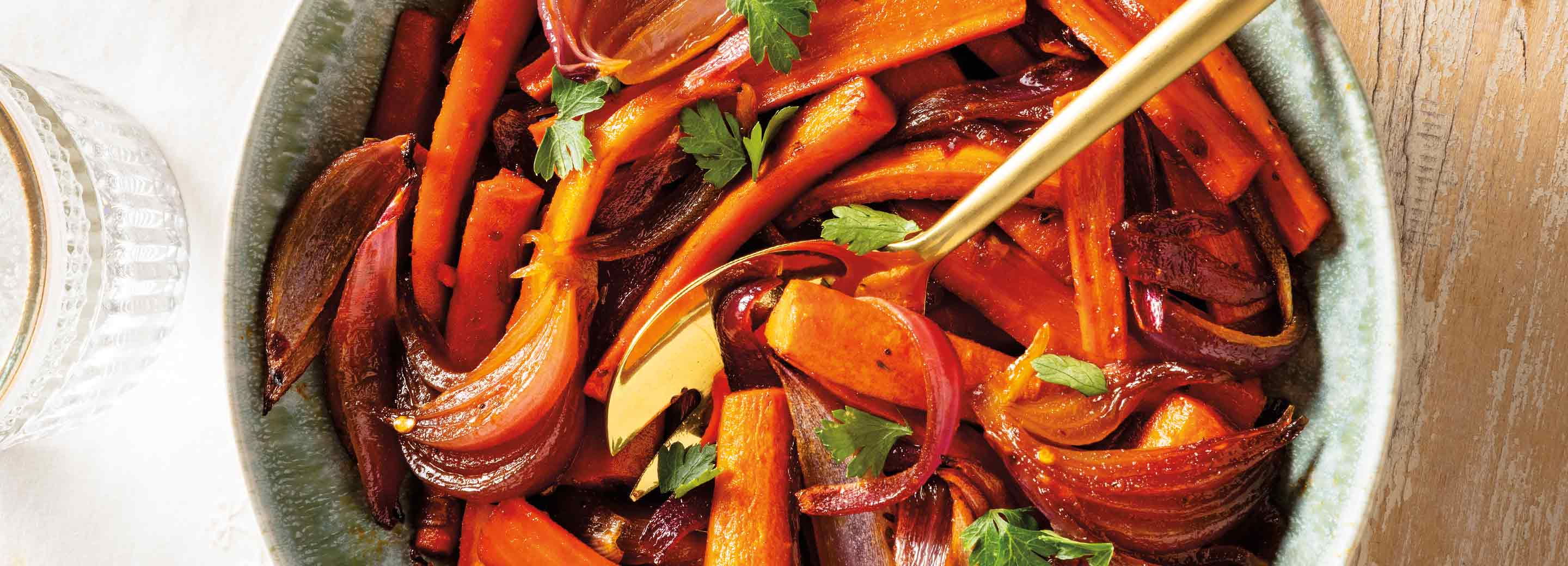 Sweet and Spicy Roasted Carrots and Red Onions