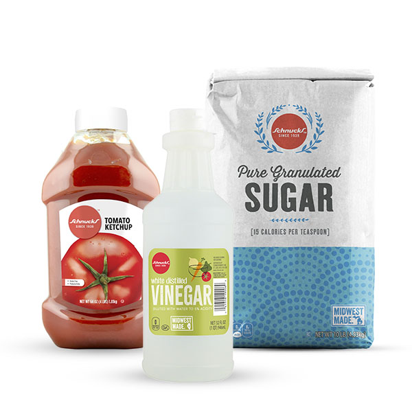 Schnucks Ingredient Swap - Tomato Sauce + Vinegar + Sugar for Ketchup