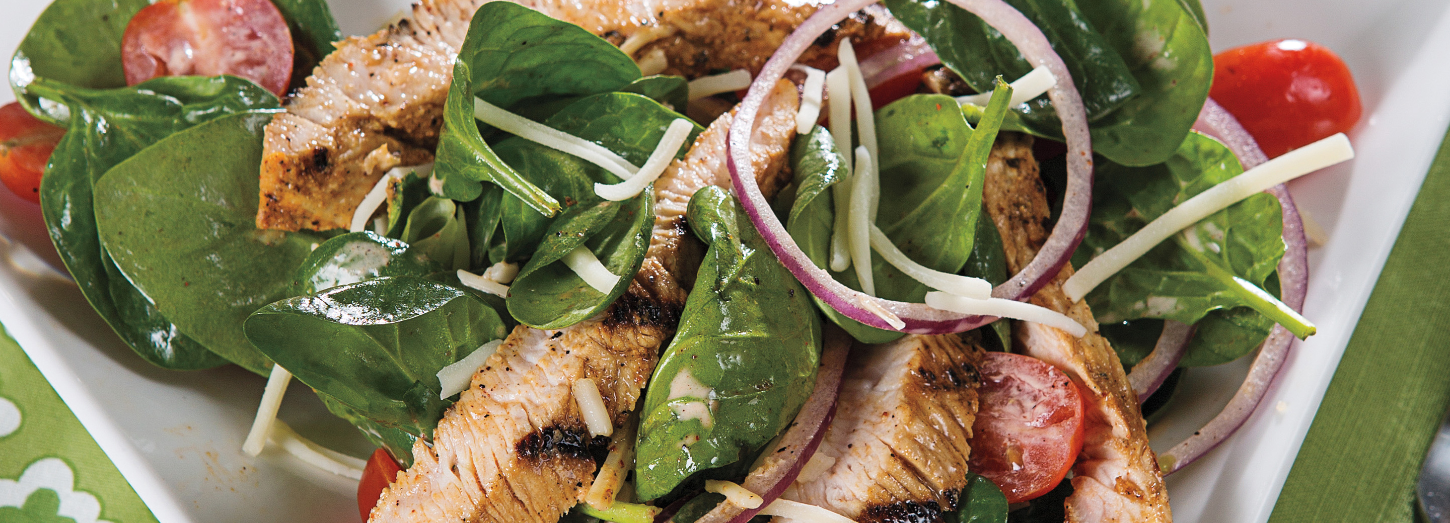 Grilled Turkey Spinach Salad with Jalapeño-Lime Vinaigrette