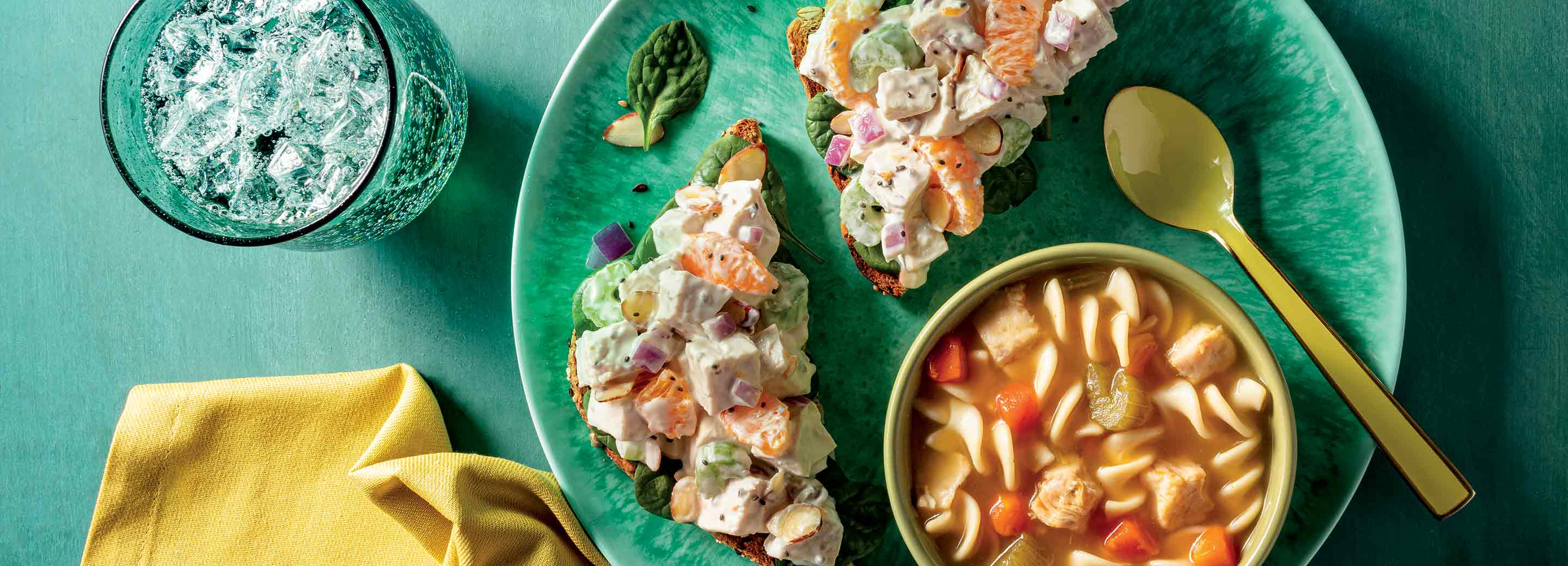 Chicken Salad with Healthy Choice Chicken Noodle Soup