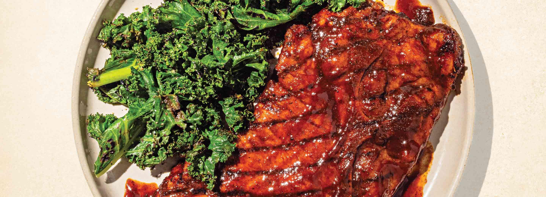 Speedy Pork Steak with Grilled Greens