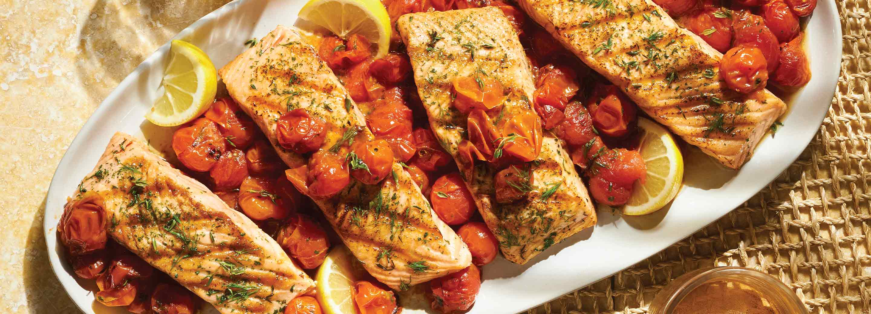 Simple Herbed Salmon with Grilled Tomato Sauce