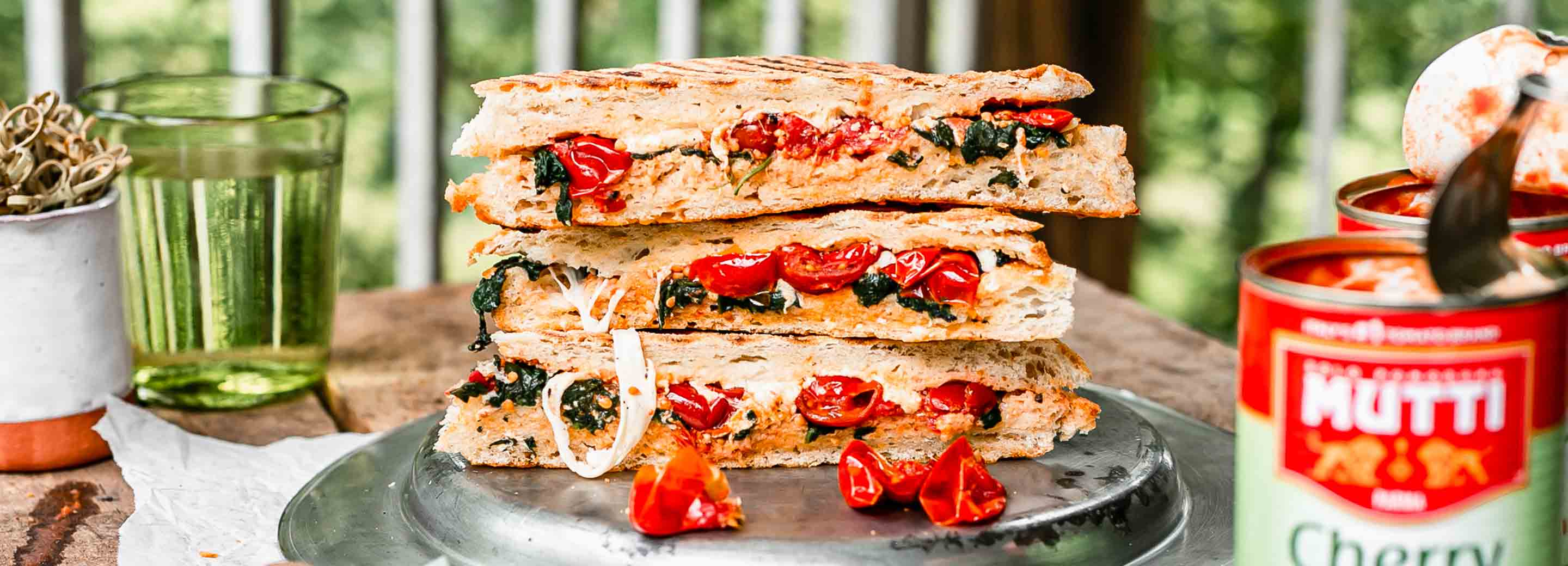 Cherry Tomato & Spinach Panini with Burrata