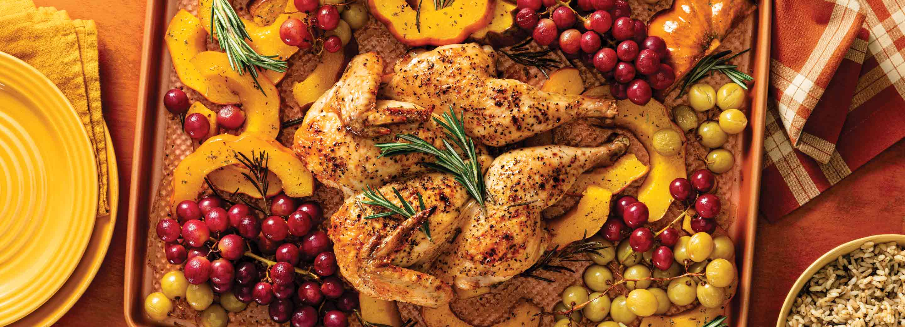 Spatchcock Chicken with Roasted Grapes and Squash