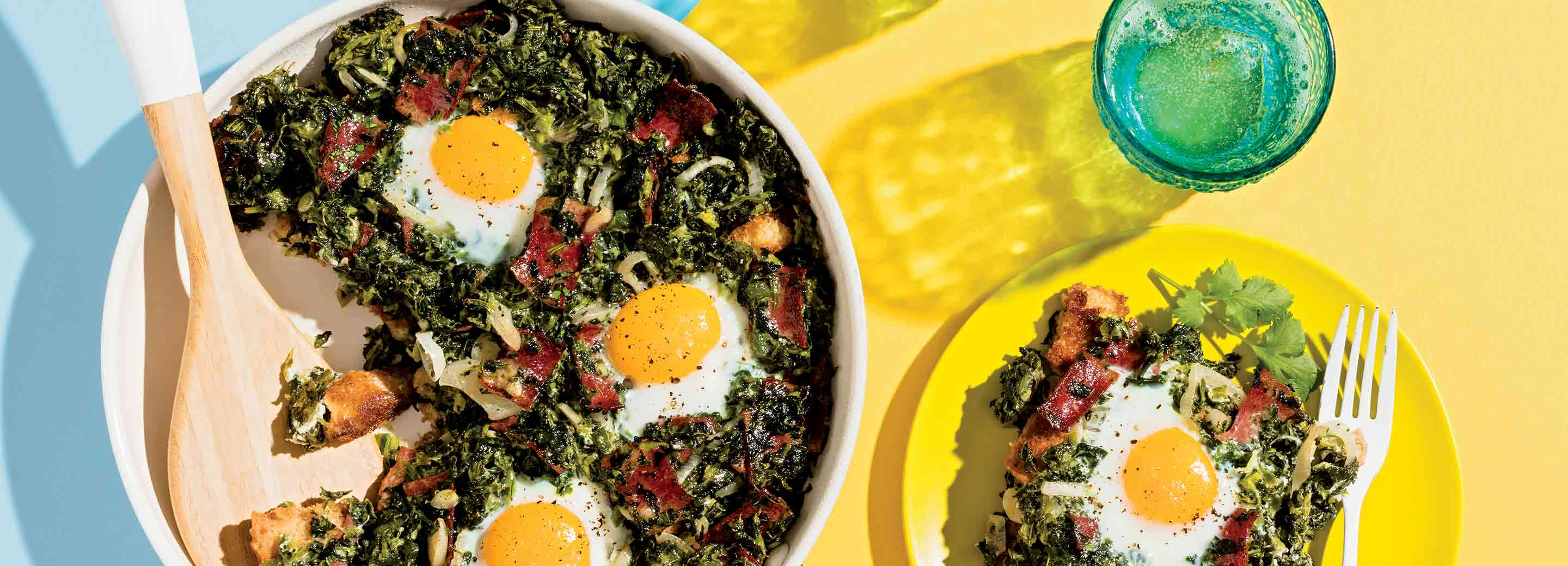 One-Pan Baked Eggs & Greens