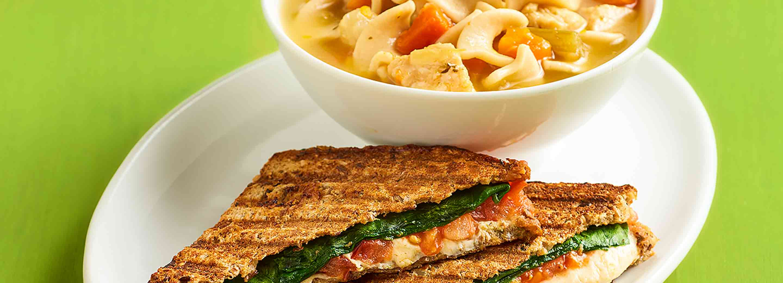 Chicken Noodle Soup + Caprese Panini