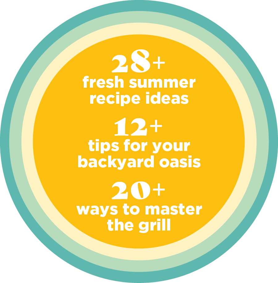 28+ fresh summer recipe ideas - 12+ tips for your backyard oasis - 20+ ways to master the grill
